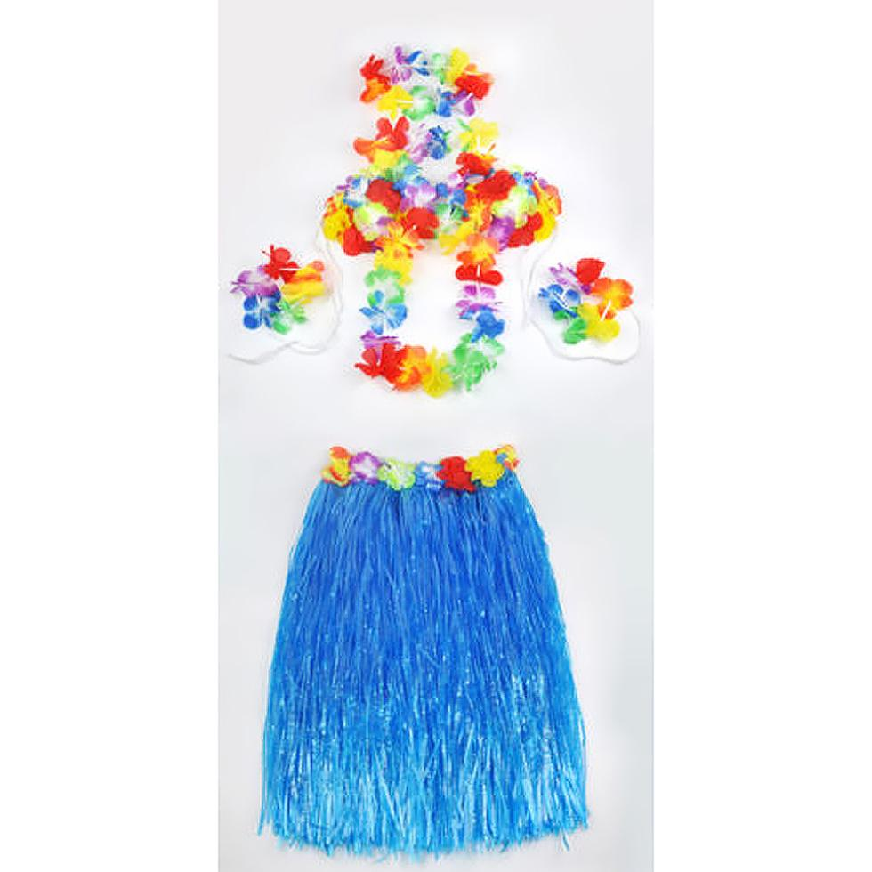 2015 presente havaiana saia de grama flor Lei pulseira fancy Dress costume - azul(China (Mainland))
