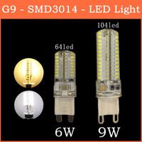 2014 The Latest Ultrabright SMD 3014 LED Lamp G9 6W 9W 64 104 leds 220V Warm White/White Corn Bulb Christmas Lights 10pcs/lot