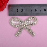 5pcs/lot Bow Design Hot Selling Luxury Leaf Design Wedding Dress Sash Rhinestones Applique Crystal Applique