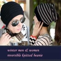 2014 New Reversible Knitted Beanie Cap For Men&Women,Winter Warm Fashion skulles Hat/CTW