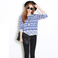 Royal Blue Jacquard-knit Pullover Sweater Dear-Lover  LC27552