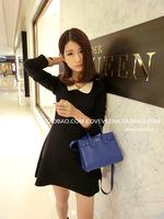 Free shipping 2015 new  Fashion doll collar temperament was thin waist small short dress dress ladies bottoming  QZ1245