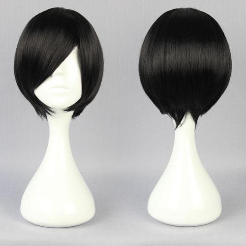 Tampão ajustável resistente ao calor cabelo sintético Anime Cosplay Short Black Bob peruca(China (Mainland))