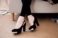 Thick heel 2014 spring platform shoes metal decoration high-heeled shoes