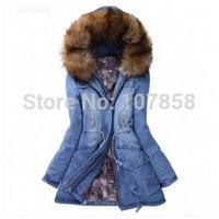2014 New Brand Down & Parkas European Fashion Large yards Fur collar Cowboys Women Winter thick Jacket Women Warm Coat #9129