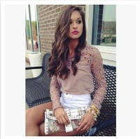 New 2014 Fashion Sexy Women Blouses Patchwork Chiffon Blusas Femininas Hollow Out Lace Shirt top In Store