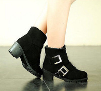 Womens Frosted Buckle Shoes High Chunky Heel Platform Snow Winter Ankle Boots
