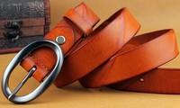 100% genuine leather wrinkle women's waist belts for jean