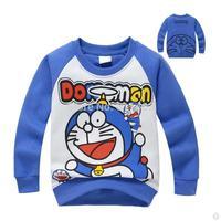 2015 boys O-neck doraemon plus velvet hoody / fashion kid's coat boys / cute children thick pullovers