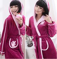Long Hooded winter coral velvet pajamas suit tracksuit woman autumn models cute flannel pajamas
