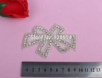 5pcs/lot new Big Bow Design Hot Selling Luxury Leaf Design Wedding Dress Sash Rhinestones Applique Crystal Applique for bridal