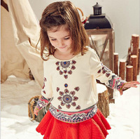 New Baby Girl National Long Sleeve Top , Princess Elegant Floral  T-shirt  5 pieces/lot, Wholesale, Free Shipping