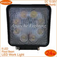 Hot Selling Flood Beam LED Work Light 8LED 24W Fog Lamp Flood Beam High Quality 1pcs LED Work Light LED Driving Light