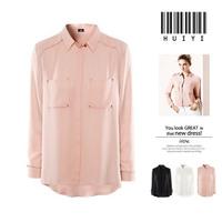 2015 Spring European style pocket  rivet decoration  chiffon shirt Blouse S8014