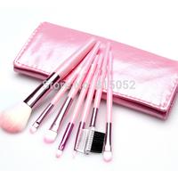 Pink Color Larainevip 7PCS Eyeshadow Eyelash Eyeliner Lipstick Foundation Makeup Brush Set Tool