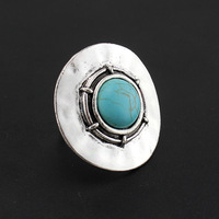 Wholesale 5PCS/Lot Vintage Rings Tibetan silver Around Turquoise Stone Resizable Rings for Women Jewellery AR036