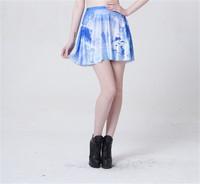 New Women Iceberg Skater Skirts European Fashion Design Saias Female Pleated Skirt for Women Saia S119-252