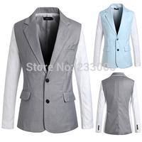 High Quality Cheap Mens Blazers 2014 Styles Nice Suits For Men Blazer Jacket Patchwork Designs Slim Fit Men Suit Grey/Blue M-XXL