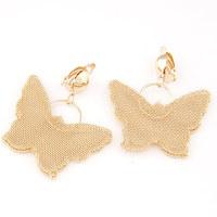 European and American metal exaggeration butterfly golden earrings for women temperament ear jewelry earings(no pierced ears)