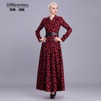 2015 Spring brand fashion V-neck vintage print dress elegant women's ultra long basic dress plus size long sleeve dress