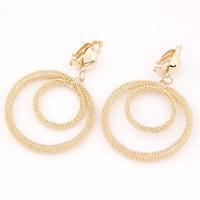 2014 European and American big metal exaggeration simple circle ear/golden earrings for women jewelry earings(no pierced ears)