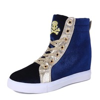 2015 Spring fashion Women Wedge Sneakers Height Increasing Shoes woman Platform PU Leather shoes
