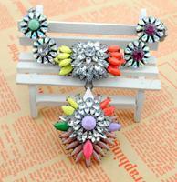 New arrival  European retro vintage colorful flower  acrylic Necklaces & Pendants WF105