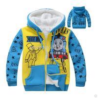 big boys hooded thick cashmere thomas hoody / children full zipper cartoon sweatshirt / kids winter coat