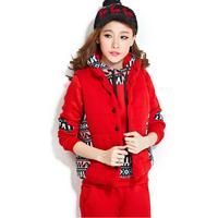 2014 autumn and winter fashion women's casual cotton-padded jacket sports set plus velvet thickening sweatshirt piece set
