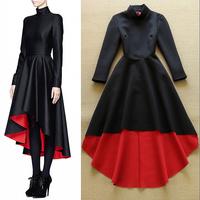 2015 Spring Runway Designer Dress Women's Noble Black Long Sleeve Red Inner Dovetail Celebrity Space Cotton Long Dress