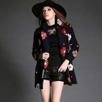 Women's Woolen Coats Wholesale 2014 Winter Embossed Flower Medium-long Woolen Overcoat Free Shipping