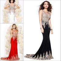 2015 Luxury Vestidos De Festa Mermaid Dress Party Evening Elegant Sexy Tranparent Sheer Bodice Crystals Chiffon Vestido Longo