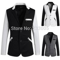 New 2014 High Quality Blazer Styles Men Slim Fit Suits Patchwork Zipper Designer Casual Blazer Jacket Cheap Mens Nice Blazers