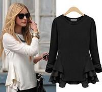 2015spring antumn women blouse long sleeve O neck ruffles hem fashion shirt pullovers chiffon t shirt women clothing 2color S-XL