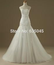 Vestido De Noiva 2015 Custom Made Ivory White Satin Tulle Beaded Applique Pleat Crystal A Line