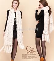 2015 Autumn winter Scarf women Lady Long 34*190CM Wool Pashmina Warm Knit Hood Cowl Winter Neck Wrap Scarf Shawl free shipping