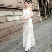 Fashion summer 2014 slim elegant chiffon strapless ruffle sleeve lace full dress one-piece dress evening dress female