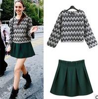 2015 Spring antumn knit sweater 2 piece set women long sleeve O neck sweater +green mini skirt crop top and skirt set S-XL