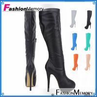 Sexy Women Knee Boots 2015 Fashion High Heels Round toe Platform Candy Color Brand Design Wedding Shoes Motorcycle Boots