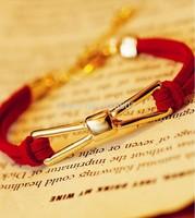 Animal Year Korean style Sweet Girls Red Black Leather Bowknot Bracelet bangle for women charm lucky gift