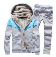 new arrived men's hood sweatshirt male plus velvet  winter casual clothes sports set slim thickening  male training wear