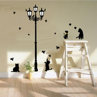 Free Shipping The black cat under the streetlights wall stickers cartoon Room Removable Wall Poster sitting room background wall