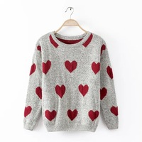2015 Women Knit Sweater Love Shape Printed Pullover Long Sleeve Round Neck Women Knit Jumper Sweater BO8001