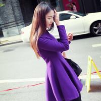 2014 winter elegant slim all-match gentlewomen slim waist long-sleeve expansion woolen material bottom basic one-piece dress