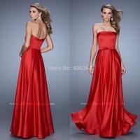 Generous Red Floor Length Strapless Evening Dresses Long Prom Dress Simple Design 2015 Vestido de Festa