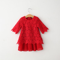 free shipping children girl half sleeve hollow lace chiffon patchwork princess dress red pink blue