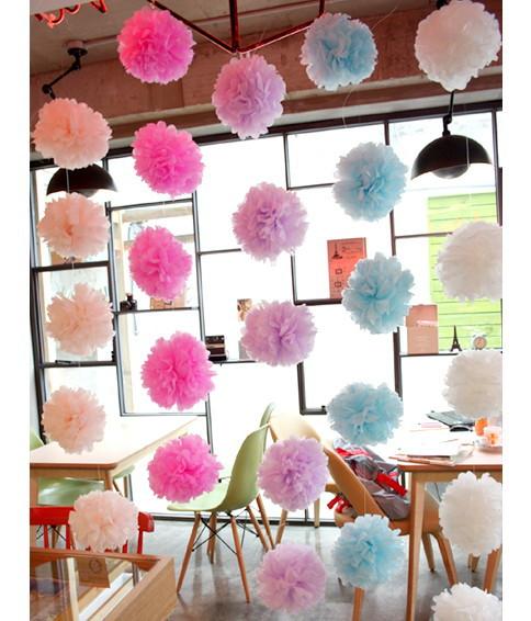 "10pcs/set Wedding Decorative 10cm(4"")Props Supplies Tissue Paper Pom Poms Wedding Party Festival Decoration(China (Mainland))"