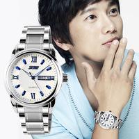 Free shipping 2015 fashion casual  Waterproof watch Men Calendar Stainless steel bracelet Quartz Wristwatches 3 colors---fdcs