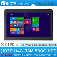 Free Shipping Touchscreen All In One PC Computer C1037u with 10 point touch capacitive touch 4G RAM 500G HDD with HDMI 2*RS232