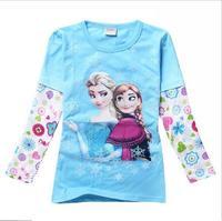 New 2015 frozen spring Tee T-shirt girls long sleeve cartoon shirts baby girl elsa anna shirt cotton tops kids clothes WD2113